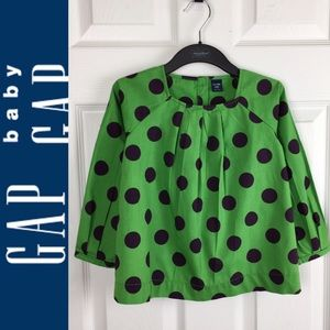 🌸Baby Gap🌸 Girls Green With Black Dots Top